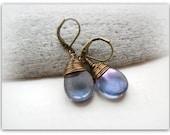 Teardrop Mystical Indigo Amethyst Lustre Vintage Earrings Czech Crystal Earrings Bronze Wire Wrap Earrings Etsy UK Bridesmaid Earrings