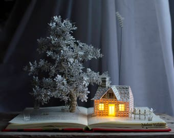 Reading in The Clouds - Book Sculpture - Altered Book