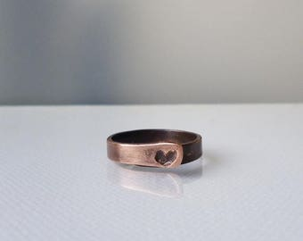 SUMMER SALE Copper ring with small heart