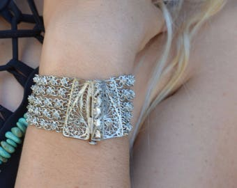 Indian filagree & chain bracelet ethnic gypsy tribal multi strand bangle boho silver flower links star pin closure