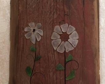 Sea Glass Artwork on Barn Boards