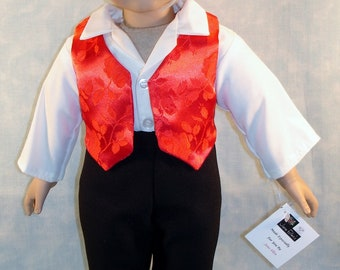 18 Inch Doll Clothes - Boys Red Vest, Ivory Shirt, Black Pants handmade by Jane Ellen