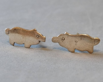 Vintage Sterling Silver Pig Earrings Small Post Stud Earrings Pierced Ear Pig Jewelry
