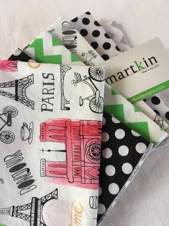 Set of 6 Paris, Polka Dot and Cevron All Cotton Lunch Box Cloth Napkins 12x15 in Size by Smartkin