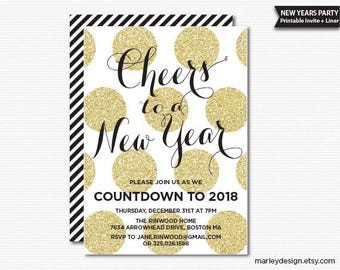 New Years Invitation New Years Party Invitation New Year's Invitation New Year's Party Printable Gold Glitter Polka Dots Digital Invite