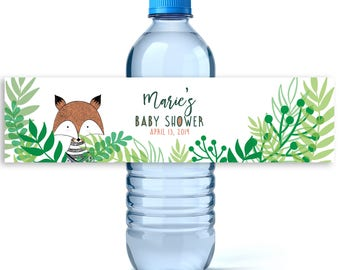 Woodland Baby Shower Water Bottle Labels - Baby Shower Favors - Baby Shower Labels  - Water Bottle Labels - Boy Baby Shower Water - Fox Baby