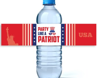 4th of July Water Labels- Personalized Label - 4th of July Decor - Independence Day - 4th of July -Water Bottle Labels -Party like a Patriot