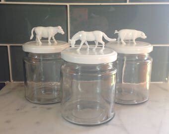 Recycled Glass Jar - Horse and Cow in White