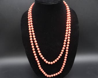 """1950s Vintage Signed Miriam Haskell Coral Beaded 54"""" Long Necklace with Original Tag - Beautiful"""