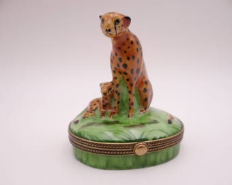 Vintage Limoges France Hand Painted Cheetah and Cub Trinket Box or Pill Box
