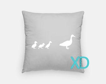 Ducks Pillow, Duckling Pillow Cover, Silhouette Pillow Case, White, Gray Pillow, Artistic Design, Home Decor, Decorative Pillow Case, Sham