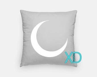 Moon Pillow, Crescent Pillow Cover, Silhouette Pillow Case, White, Gray Pillow, Artistic Design, Home Decor, Decorative Pillow Case, Sham