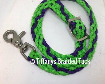 Rein grabber, safety rein saver, rein strap, horse tack, rein, green rein saver, braided tack