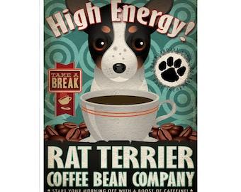 Rat Terrier Coffee Bean Company Original Art Print - Custom Dog Breed Art - 11x14