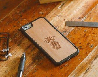 Wood iPhone 7 Case, Pineapple Design Engraved iPhone 7 Case - SHK-C-I7-PINE