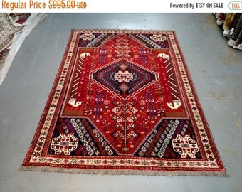 SUMMER CLEARANCE Persian Rug - 1980s Hand-Knotted Shiraz Rug (3577)