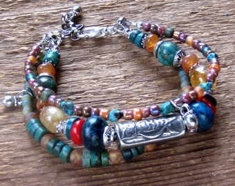 Owl Bracelet, Wrap Bracelet, Charm Bracelet, Multiple Strand Bracelet, Chunky Bracelet, Bohemian Jewelry, Boho Jewelry