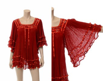 Vintage 70s Sheer Gauze Tunic Top 1970s Mexican Gauzy Shirt, Hippie Angel Wing Blouse, Boho Festival Bell Sleeve Mini Dress Top / One Size