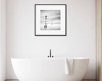 Minimalist Black and White Photography Wall Art Print, Living Room Art, Venice, Coastal Art Print, Gift For Boyfriend, Dorm Decor