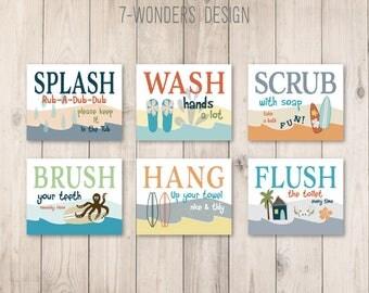 "Childrens Kids Surf Beach Theme Bathroom Art Prints Set of (6) 4"" x 6"", 5"" x 7"" or 8"" x 10"" // Kids Bathroom Art Decor- UNFRAMED"