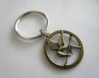 Bronze tone Mocking Jay skull charm - zipper pull jackets - mocking jay zipper pull - mocking jay key chain - key chain mocking jay charm