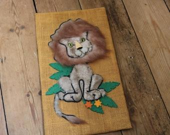 1960's vintage lion artwork/picture/childrens bedroom handmade