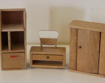 Dol-toi dolls house bedroom furniture set wooden - vintage - dresser - wardrobe