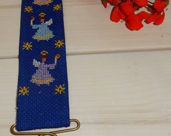 Swedish hand embroidered wall hanging 1970 s  / angels