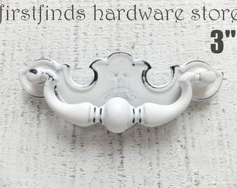 Drawer Pull Shabby Chic White Handle Furniture Hardware Vintage Chippendale Swing Cabinet Kitchen Distressed Rooster 3Inch ITEM DETAIL BELOW