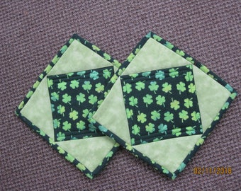 Quilted Pot Holders/Hot Pads - St. Patricks Day - Shamrocks - Heat Resistant