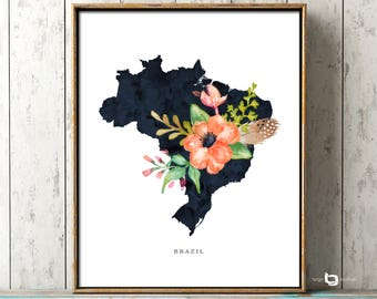 Brazil Map Wall Art, Brazil Map Print, Brazil Watercolor Print, Brazil Watercolor Map Print, Brasil Mapa Print, Brazil Flower Watercolor Map