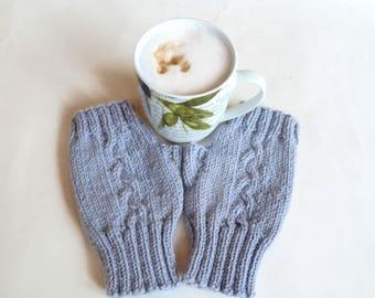 Grey Wool Fingerless Gloves Mittens - Women Cable Hand Knitted Hand Warmers - Knit Fingerless Wool Alpaca Wrist Warmers - Clickclackknits