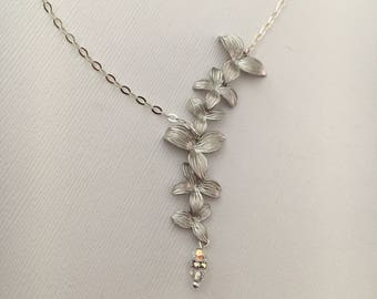 Sterling Silver Necklace Orchid Necklace Bridesmaid Gift Mother of the Bride Mother of the Groom