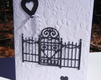 Pet Sympathy Card, Cat Sympathy Card, Dog Sympathy Card, Pet Loss Card: Wrought Iron Gate and Heart Design