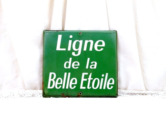 "Vintage French Green and White Enamel Metal Sign ""Ligne de La Bonne Etoile"" ""Lign of the Good Star "" Bus Route, Enamelware Porcelain France"