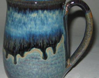Pottery Mug, XL 20 oz Blue Lagoon, Handmade, Microwave Dishwasher Safe