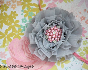 Pink Luxury - Headband, Photography Prop, Baby Headband, Couture Headband, Flower Headband, Pink and Grey, Hair Clip, Photo Prop
