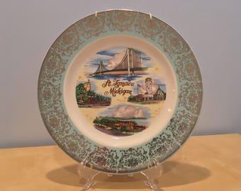 Vintage St. Ignace Michigan Souvenir Plate