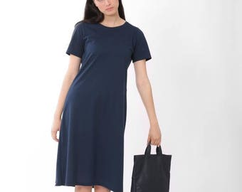 Summer Dress, A line Dress, T Dress Dress, Short sleeves Dress, Blue Dress, T shirt Dress, Short Dress Summer, Navy Blue, Cotton