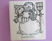 SALE Large Snowman Craft Rubber Stamp Winter Theme Stamp Wood Mount Rubber Stamp Broom Scarf Snowwoman Scrapbooking Card Making Supplies