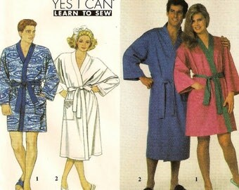 "A Spa-Style Front Wrap Robe in 2 Lengths Sewing Pattern: Uncut - Men/Women Unisex Sizes L-XL, Chest/Bust 42"" - 48"" ~ Simplicity 9319"