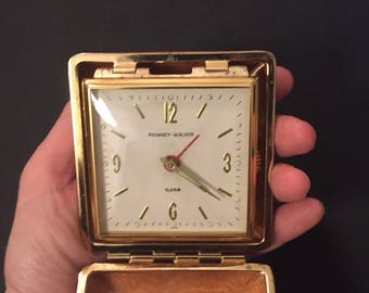 Vintage Mid Century Travel Alarm Clock in Orange-Brown Case // Phinney Walker Desk Clock