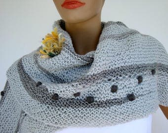 Scarf, knitted Scarf, Stole, Fall Fashion,  shades of pale blue, gray, yellow