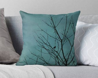 teal pillow cover, turquoise pillow cover, teal cushion cover, teal home decor, shabby decor, natural home decor, tree pillow cover, bird