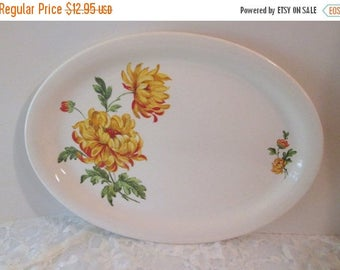 Summer Sale Vintage J & G Meakin Studio Ware Yellow Chrysanthemum Oval Platter, November Birth Flower