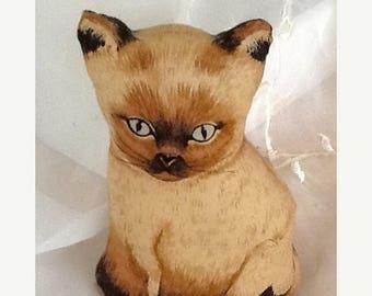 Summer Sale Small Siamese Kitten Decorative Pillow, Shelf Sitter, Basket Filler, Cat Lover Gift