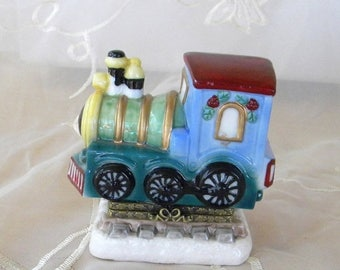 Xmas in July Sale Hinged Porcelain Train Box, Locomotive Engine, Blue, Brown, Green Yellow, Brass Hinges, Cute for a Train Lover, Hide Gift