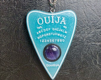 Real Amethyst Floating Baby Blue White Ouija Board Planchette Mystifying Oracle Talisman Necklace Witch Board