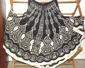 Women's Vintage Skirt Bohemian Gypsy Maxi Twirl Skirt With Sequins