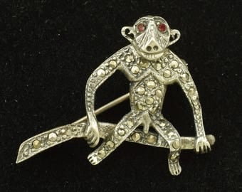 Sterling Silver Monkey Brooch Vintage Marcasite Anatomically Correct! ~ Lot 1445